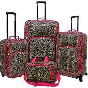 Traveler Fashion 4 Piece Spinner Luggage Set, Leopard U.S