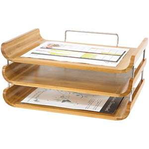 Safco 3 Tier Bamboo Desk Tray, Natural Office