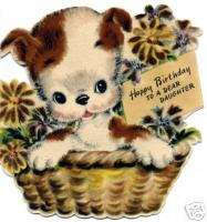 Vintage Refrigerator Magnet Birthday Daughter Puppy V34
