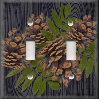 Light Switch Plate Cover   Rustic   Pine Cones With Black Background