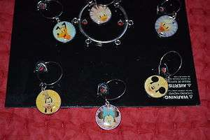 DISNEY Mickey Mouse & Friends Wine Glass Charms NEW