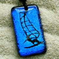 Windsurfing Sail Board Pendant Leather Necklace Boom
