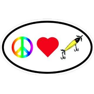 PEACE LOVE FISHING VINYL DECAL BUMPER STICKER 3 X 5