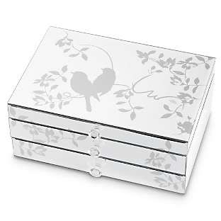 VENETIAN Etched Songbird Mirrored JEWELRY BOX Drawer & Flip Lid Mirror