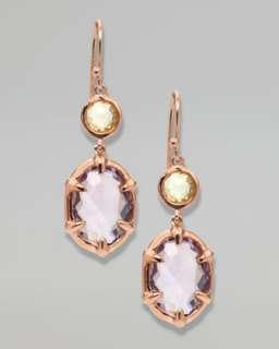 Two Stone Drop Earrings, Rose Gold