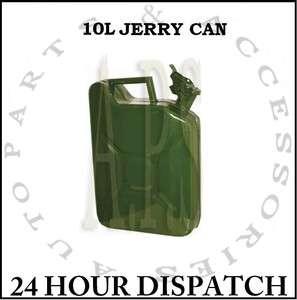 METAL FUEL JERRY CAN DIESEL PETROL OIL 10 LITRE GREEN