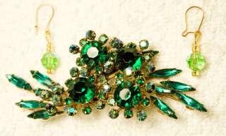 jewelry set pin brooch earrings green glass crystal gold tone pierced