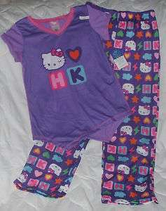 NEW Sz 6 6X Sanrio Hello Kitty Pajamas Shirt Pants Purple Girls