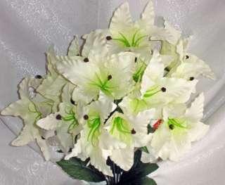 Lily ~ CREAM IVORY ~ Silk Wedding Flowers Bridal Bouquets Bush