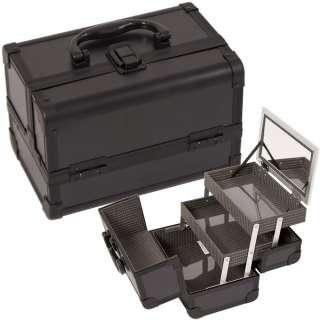 Jewelry Box Makeup Train Case Cosmetic Organizer w/ Mirror 3 trays