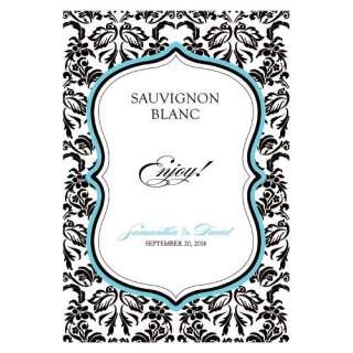 Love Bird Damask Wine Label Wedding Favors