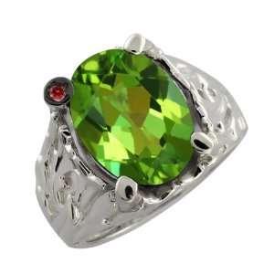 Envy Green Mystic Quartz and Cognac Red Diamond 14k White Gold Ring