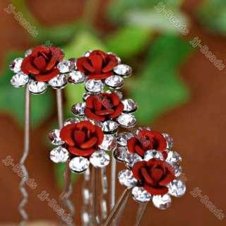 50PC Rhinestone Crystal Red Rose Flower Hair Pins Wedding Party Bridal