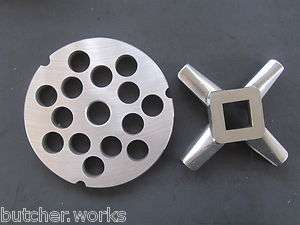 42 x 3/4 Meat Grinder plate AND knife for Hobart Biro LEM Universal
