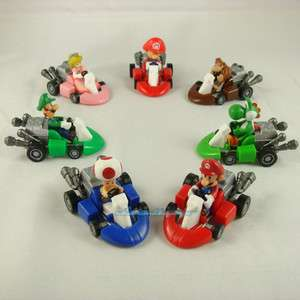 7PCS Super Mario Brothers Pull Back Car kart set Figure Toy #7MC
