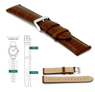 22mm Mens Brown Leather Watch Strap Alligator Style New