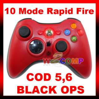 NEW 10 MODE RED XBOX 360 RAPID FIRE MODDED CONTROLLER for MW2 MW3 COD
