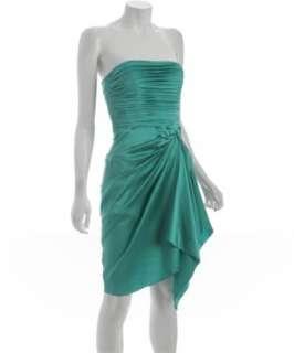 Nicole Miller aqua stretch charmeuse pleated strapless dress