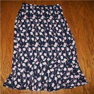 SAG HARBOR NAVY BLUE PINK WHITE FLORAL LONG FULL LENGTH REAR ELASTIC