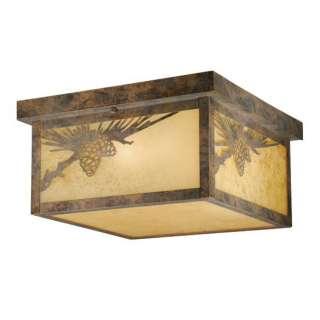 Rustic Pine Cone Outdoor Flush Mount Ceiling Lighting Fixture Bronze