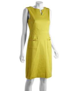 Tahari ASL citron waffle stretch cotton horse bit pocket detail shift