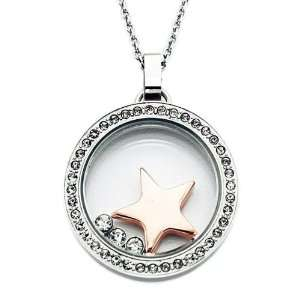 tone Stainless Steel Glass and Crystal Star Charm Necklace Jewelry