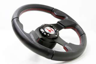 Red Stitch Leather Steering Wheel+HUB+Silver Button Honda Civic