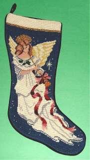 Sferra Christmas Stocking Needlepoint Angel W/Horn New