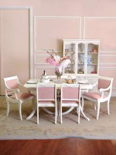 Shabby Cottage Chic White Dining Table French Style Vintage Seats 6