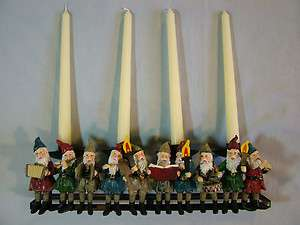 12 Elves Caroling Christmas Candle Holder (Holds 4 Tapers)
