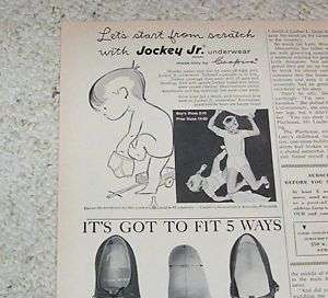 1958 Jockey Junior BOYS Underwear Coopers VINTAGE AD