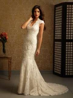 Ivory Chapel length V Neckline Lace Wedding Bridal Dress Cap Sleeve
